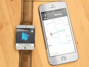 Cette image présente l'iWatch d'Apple qui sera donc équipée d'un GPS pour donner le chemin à son propriétaire.