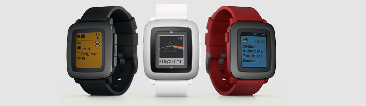 Illustration des 3 coloris de la Pebble Time