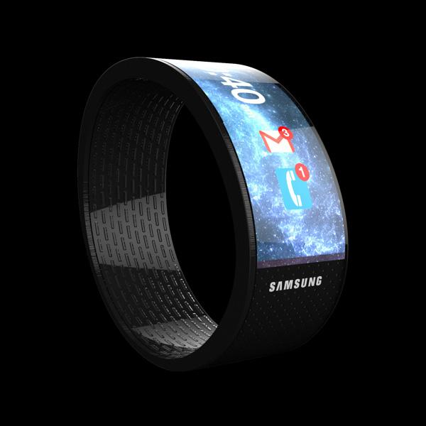 Cette image présente un concept de smartwatch samsung avec un écran flexible youm, réalisé par Yanko Design