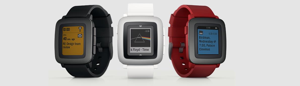 Illustration des 3 coloris de la Pebble Time
