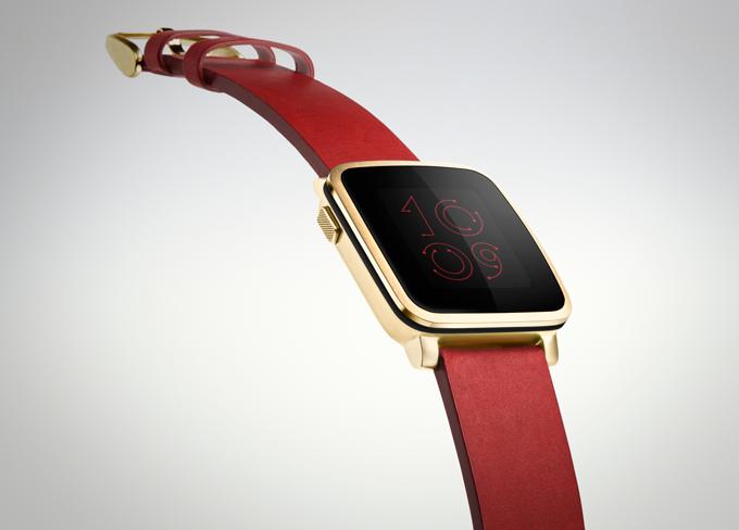Illustration de la Pebble Time Steel version rouge